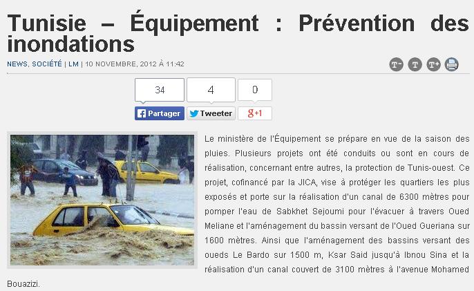 Tunisie – Équipement Prévention des inondations